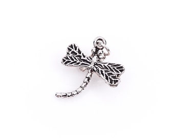 3D DRAGONFLY Sterling Silver Charm Pendant,  pms0069
