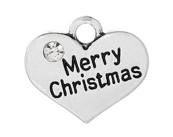 "1 Antique Silver Rhinestone ""Merry Christmas"" Heart Charm Pendant 17x14mm  chs1393a"