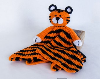 Tiger Lovey / Security Blanket - PDF Crochet Pattern - Instant Download - Blankie Baby Blanket