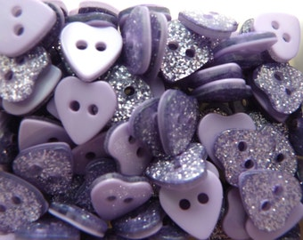 10 x 11mm Glitter Heart Shaped Buttons - Red/Fuchsia/Silver/Lilac
