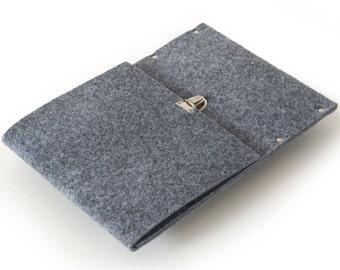 iPad Air Sleeve, Case, Clutch, Cover, Bag - grey synthetic felt handmade by SleeWay