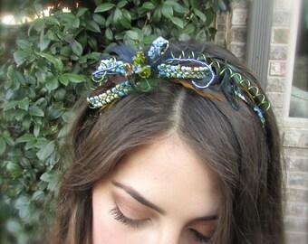 Wedding headband  blue and green feathers