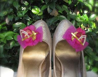 Wedding Shoe clips Hot pink Elegant
