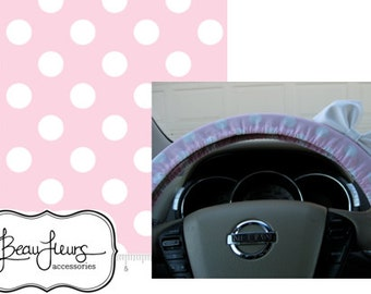 Steering Wheel Cover Bow, Large Baby Pink and White Polka Dot Steering Wheel Cover with White Bow BF11073