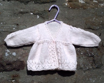 "Hand knitted baby girls soft peach matinee coat, mitts and hat set. .16"" chest"