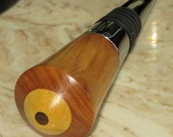 Three Woods Chrome Corkscrew with Bottle Stopper - Tulipwood Yellowwood Walnut - Wine Lovers Gift - Wood Bottle Stopper Corkscrew- Item 4096