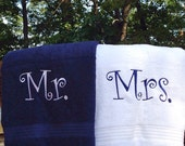Mr. and Mrs. Bride and Groom Towel Set Personalized Bath Towel Couple shower gift