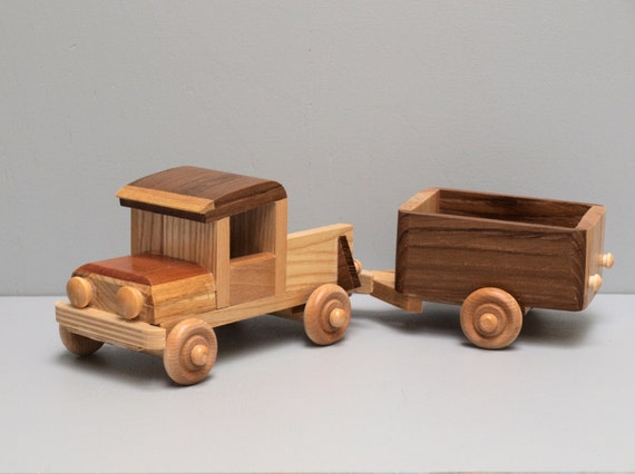 Wooden Toy Cars And Trucks : Eco friendly wooden toy truck with trailer for children boys