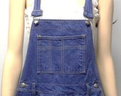 Vintage 90's  cut off Blue Hand Dyed Denim Shortalls/Overalls Shorts - Sz Medium