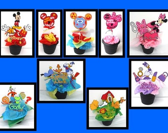 Mickey Mouse Clubhouse Theme Centerpiece Stick Set of 39 Personalized With Minnie Toodles Daisy Donald Pluto Goofy