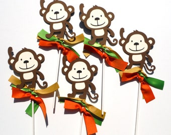 5 Monkey Jungle Animal Themed Party Centerpiece Sticks