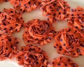 "Orange with Royal Blue Polka Dots Shabby Rose Trim 2.5"" Shabby Flowers Shabby Chiffon Flowers Printed Shabby Trim Wholesale Rosette trim 6cm"