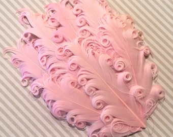 Curly Feather Pad  Light Pink  FP245 - (1 piece)  Ballerina Pink Feather pad Soft pink  feather pad - vintage pink blush feather pad