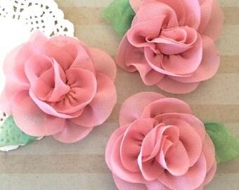 "Rose Mauve  mini Camellia Flower with leaf (3 pcs) - Small 2.5"" Pink Fabric flower embellishment headband flower applique Rose accent flower"