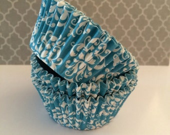 Aqua Blue Damask cupcake liners (60) - Blue baking cups muffin cups greaseproof cupcake papers cupcake wrappers bulk cup cake papers