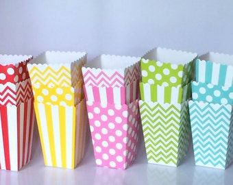 Treat Boxes popcorn boxes - chevron - polka dot or stripe printed party box candy buffet treat box snack box gift box (12 count) YOU PICK