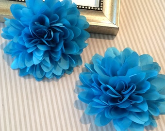 Turquoise Blue Fabric flower  (1 pc)   - 4''  large silk fabric flower - flat back  Dahlia Silk Flower