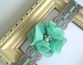 Silver Gray Lace Elastic Headband  or wedding garter  with Aqua flower Grey lace keepsake or toss garter or headband convo for custom colors