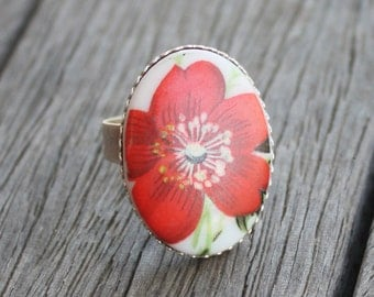 Retro Porcelain Floral Cabochon Ring - Silver Plated bezel ring - adjustable ring, flower ring, bright ring, floral jewelry, bold ring
