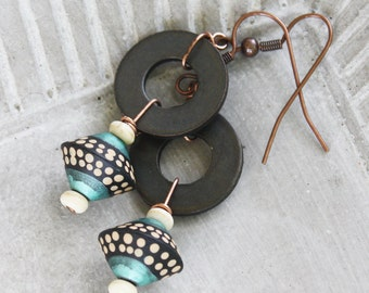 Morocco Earrings - Black Washer, polymer clay bead and copper earrings, polymer earrings, gypsy earrings, boho earrings, black earrings