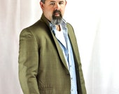 Vintage 1950's Mens Sport Coat Blazer Plaid Jacket Size 44 Long Big Tall Man Tan & Black Turquoise Mid Century Menswear Fashion