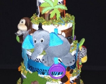 Gray Elephant Musical Jungle Diaper Cake