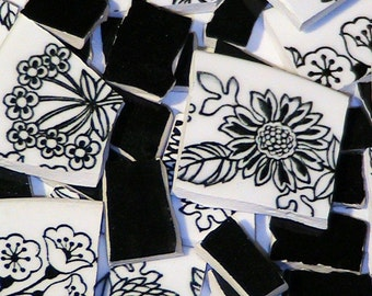 Mosaic Tiles 100 Black & White Garden FREE SHIPPING Tesserae Handmade Cut Nipped Dinnerware Plates Dishes Flowered Mosaics