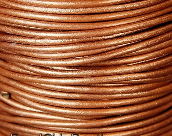 Metallic Bronze 2mm Round Leather Cord  3 Yards / 9 Feet / 2.74 Meters    lea007