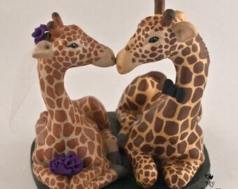 Giraffes in Love Wedding Cake Topper
