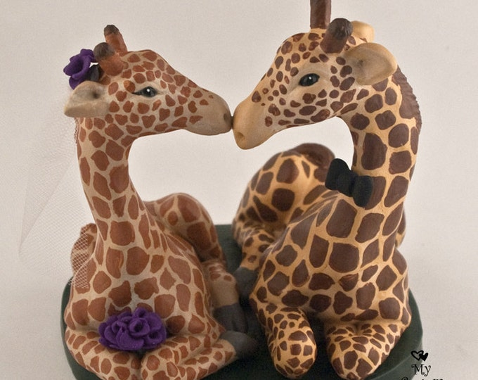 Giraffes in Love Wedding Cake Topper