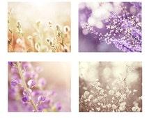 Purple Photography Set, Four Photos, lavender pastel beige brown cream light nature photographs botanical wall print set nursery shabby chic