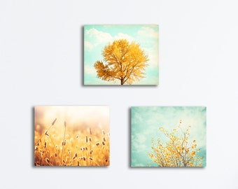 Canvas Set of Three, 3 yellow mint teal aqua gold turquoise blue nature photography gallery wrapped light botanical wall art tree prints