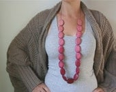 Hand-Dyed Ombre Soft Pink to Deep Rich Cerise Wooden Bead Statement Necklace