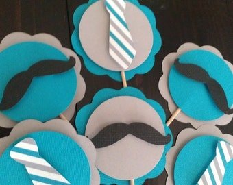Mustache & Neck tie, little man Cupcake Toppers