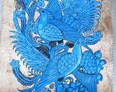 Mexican amate bark painting (blue pheasants)