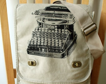 Typewriter Canvas Messenger Bag Laptop Bag Large Book Bag