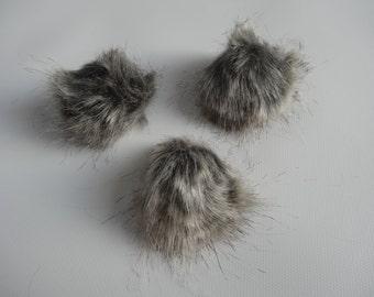 Faux Fur Poms-TABBY-  Set of 3