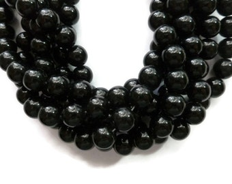 Black Jade - 10mm Round Bead - Full Strand - 37 beads - shiny - glossy opaque stone
