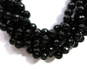 Black Jade - 10mm Faceted Round Bead - Full Strand - 36 beads