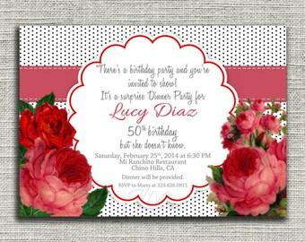 Vintage Floral Birthday Invitation, Red Floral Bridal Shower Invite, Floral Baby Shower Invitation-Digital File You Print