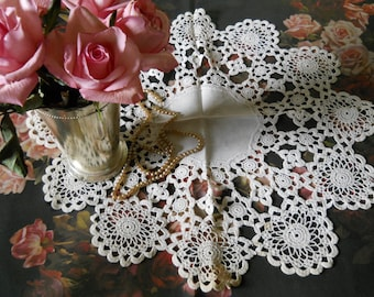 Doily Crocheted Lace White Doily and Cotton Fabric Center Romantic Shabby Chic Decor Handmade Doily 1950 Collectible Vintage Shabby Linens