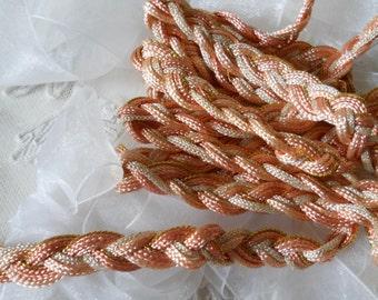Vintage Pink Cream & Gold Metalic Braided Cording 2 Yards Vintage Pink Braid Vintage Craft Supplies Trim