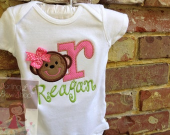 Monkey shirt, bodysuit or tank top for girls  -- Sweet -n- Silly Monkey -- lime green and hot pink with name and polka dot initial