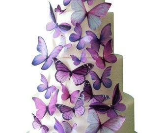 Wedding Cake Topper - Edible Butterfly Winter WEDDING DECORATIONS - 30 Purple Edible Butterflies for Cakes and Cupcakes