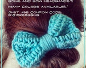 B1G1 SALE Handmade Crochet Big Bow with Accessory of Your Choice Ponytail Headband and Many Colors Available