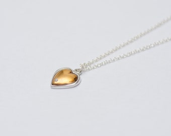 Tin Gifts For Her - Tin and Diamond Heart Pendant with Copper Inlay
