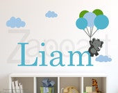 Up and Away Elephants with Personalized Name Wall Decal