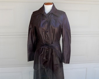 leather trench coat . cordovan oxblood . 1970's full length coat by Great Things . Small