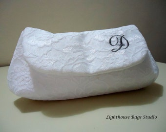 Bridesmaid-Wedding Clutch -  White Lace on White