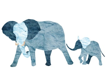 Elephant and Baby Elephant Wall Decal Sticker for Jungle Theme Mural (sku:118-stick-17)